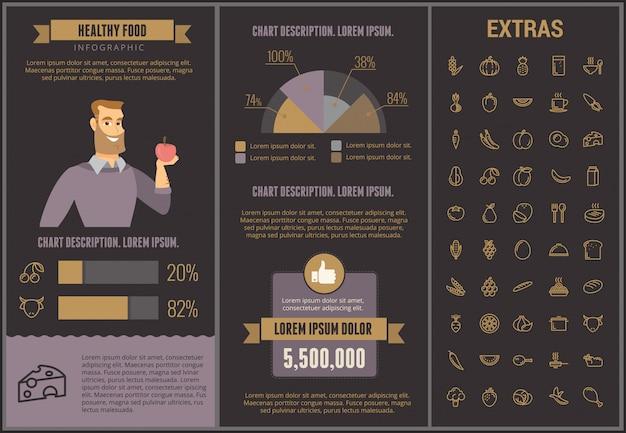 Modelo de infográfico de comida saudável, elementos, ícones