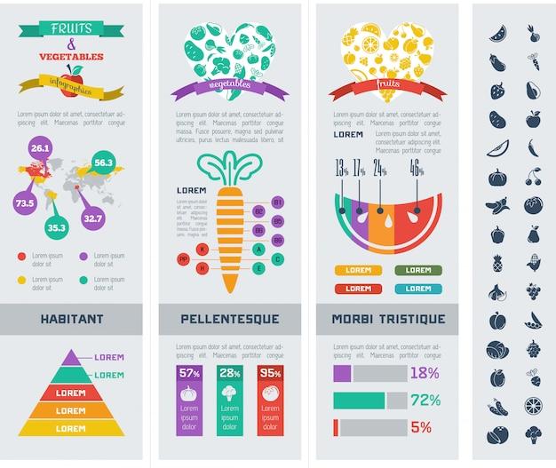 Modelo de infográfico de comida saudável.