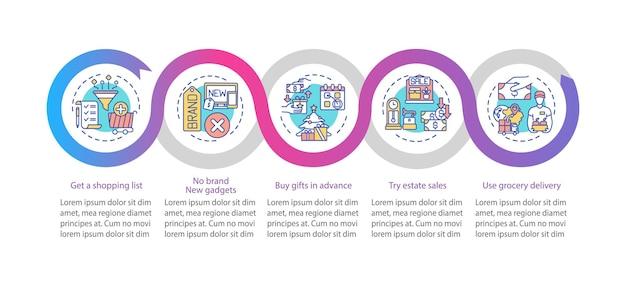 Modelo de infográfico de compras inteligente Vetor Premium