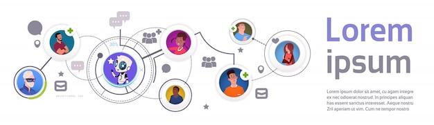 Modelo de infográfico de comunicação chat bot e elementos com banner horizontal de tecnologia de suporte móvel robô