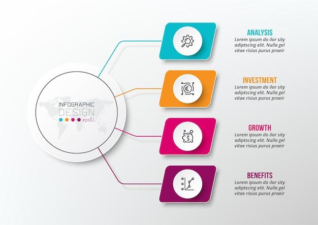 Modelo de infográfico de conceito de negócio com diagrama Vetor Premium
