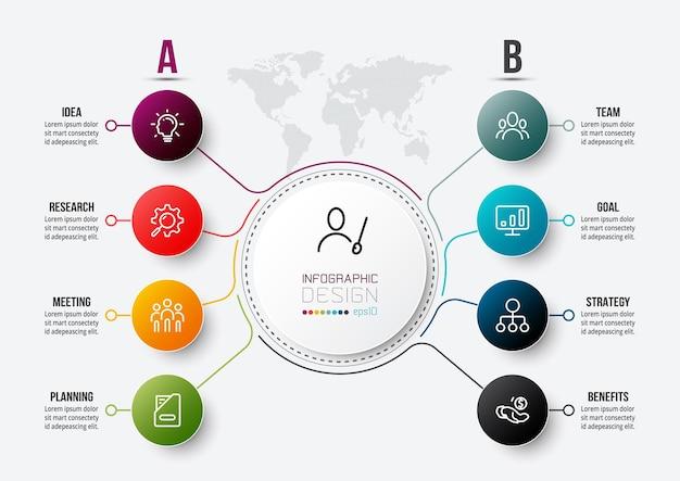 Modelo de infográfico de conceito de negócio com diagrama