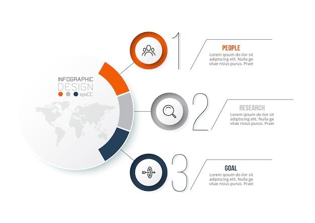 Modelo de infográfico de conceito de negócio com diagrama.