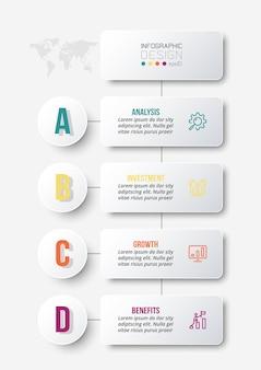 Modelo de infográfico de conceito de negócio com fluxo de trabalho
