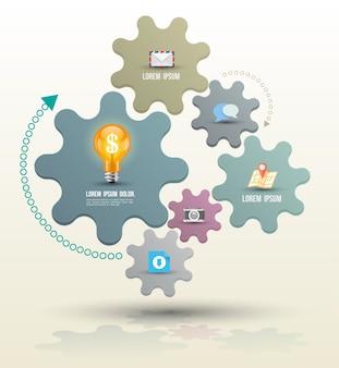 Modelo de infográfico de conceito de negócio com ícones