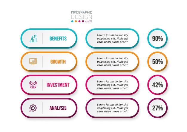 Modelo de infográfico de conceito de negócio com opção de porcentagem