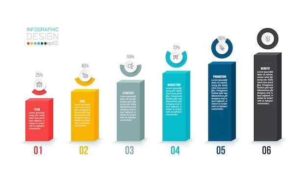 Modelo de infográfico de conceito de negócio com opção de porcentagem.