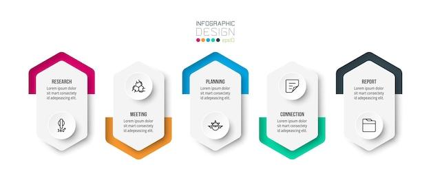Modelo de infográfico de conceito de negócio com opções