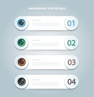 Modelo de infográfico de cor de olhos com 4 opções