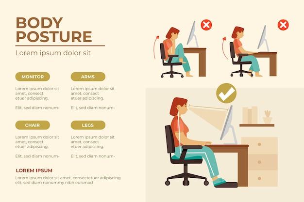 Modelo de infográfico de correção de postura desenhada à mão