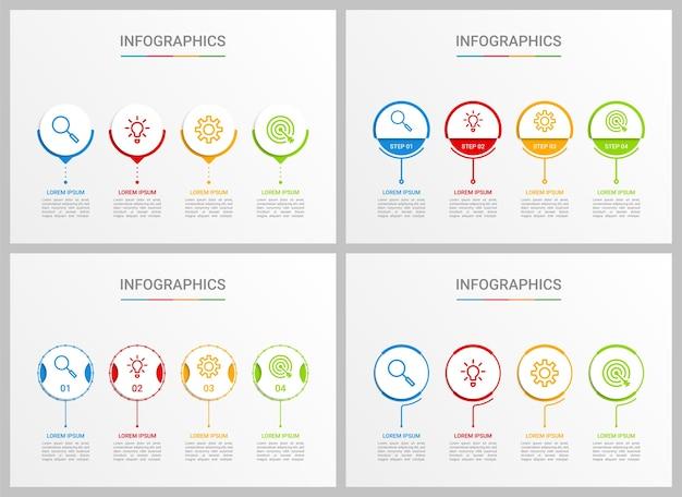 Modelo de infográfico de cronograma colorido com 4 etapas