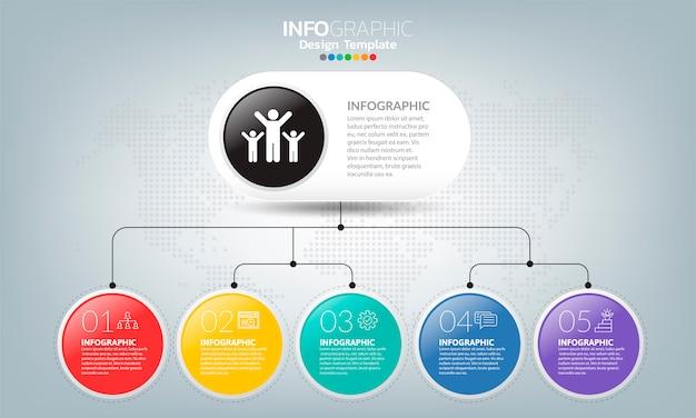 Modelo de infográfico de cronograma com setas e 5 opções de design plano