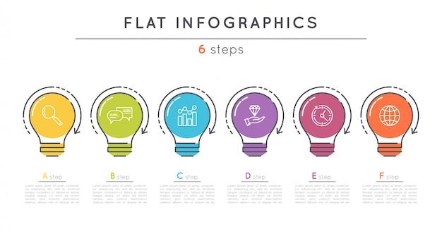 Modelo de infográfico de cronograma de etapas planas.