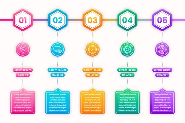 Modelo de infográfico de cronograma de gradiente