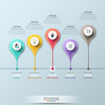 Modelo de infográfico de cronograma de negócios. ilustração vetorial