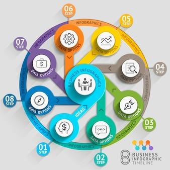 Modelo de infográfico de cronograma de negócios.