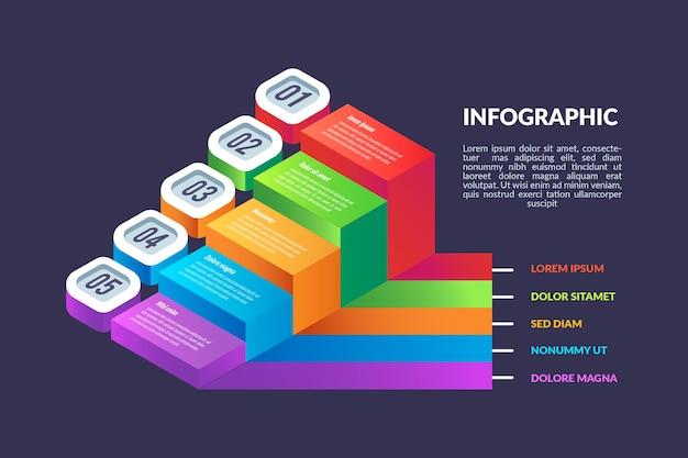 Modelo de infográfico de desenho isométrico
