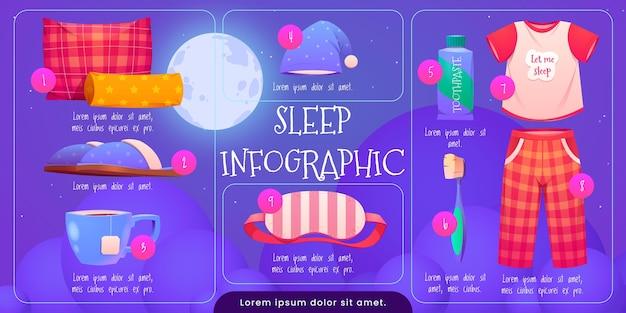 Modelo de infográfico de desenhos animados sobre sono