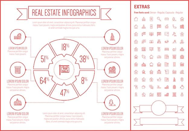 Modelo de infográfico de design de linha de imóveis