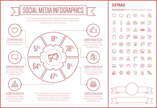 Modelo de infográfico de design de linha de mídia social