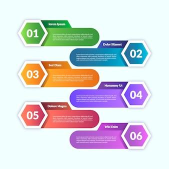 Modelo de infográfico de design gradiente