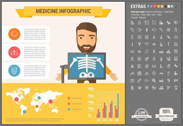 Modelo de infográfico de design plano de medicina e conjunto de ícones