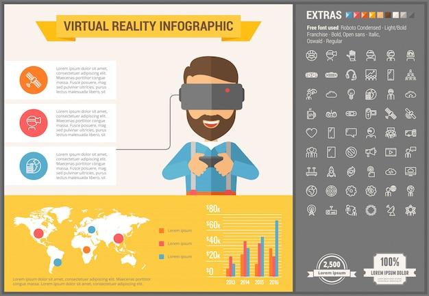 Modelo de infográfico de design plano de realidade virtual e conjunto de ícones