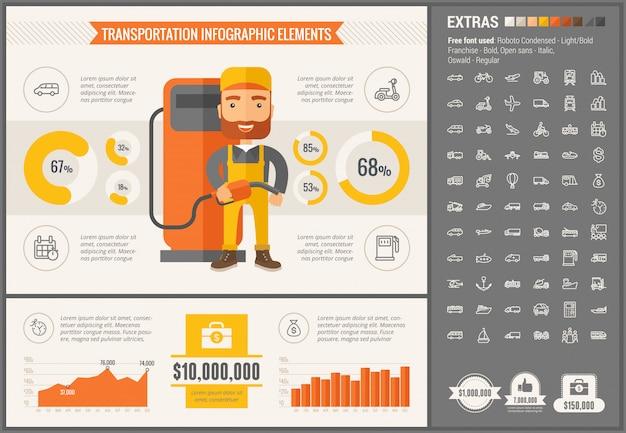 Modelo de infográfico de design plano de transporte e conjunto de ícones