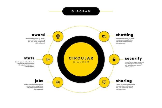 Modelo de infográfico de diagrama circular de design plano