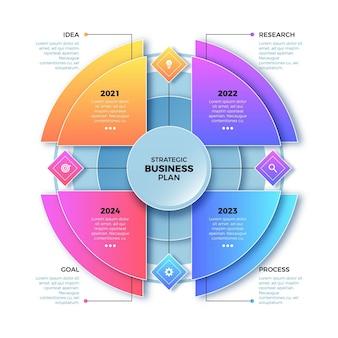 Modelo de infográfico de diagrama circular gradiente