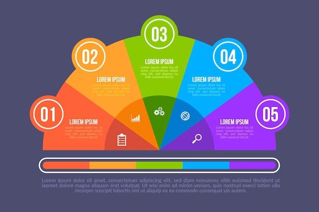Modelo de infográfico de diagrama circular plano