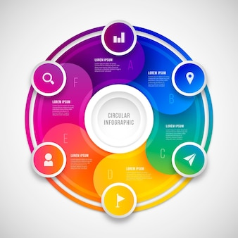 Modelo de infográfico de diagrama circular realista