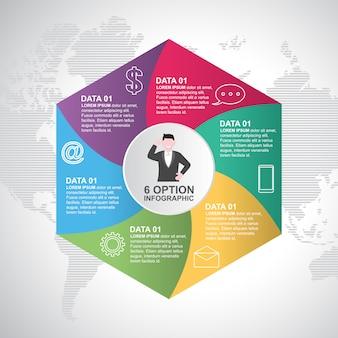 Modelo de infográfico de diagrama de ciclo moderno de obturador de etapas de negócios