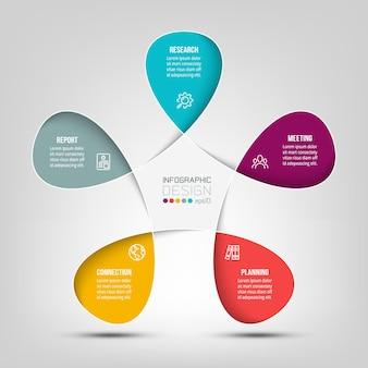 Modelo de infográfico de diagrama de marketing ou negócios