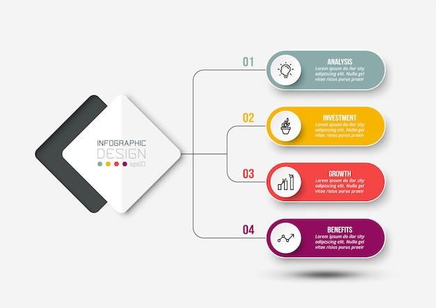 Modelo de infográfico de diagrama de negócios ou marketing Vetor Premium