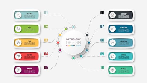 Modelo de infográfico de diagrama de negócios ou marketing
