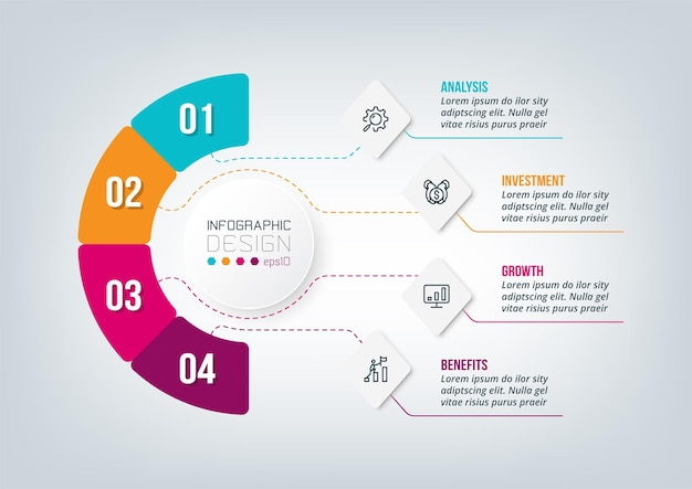 Modelo de infográfico de diagrama de negócios ou marketing.