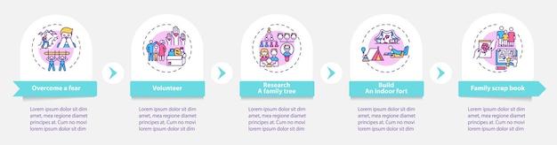 Modelo de infográfico de dicas de vínculo familiar