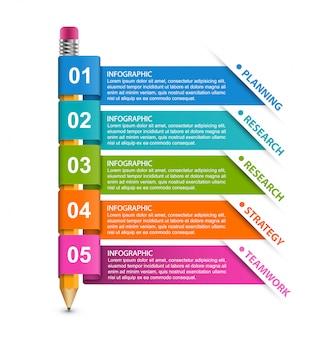 Modelo de infográfico de educação com lápis.