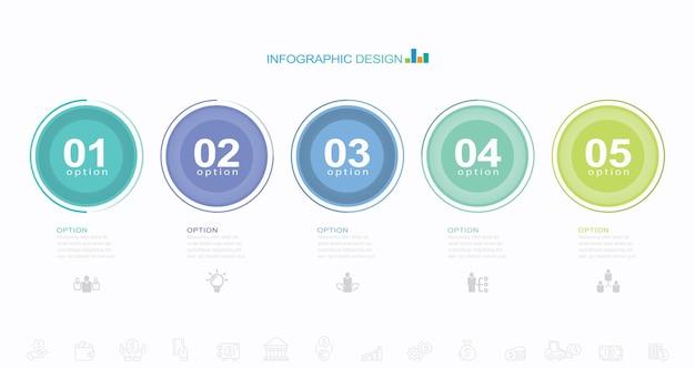 Modelo de infográfico de elementos de opções de etapas para apresentação de negócios no site