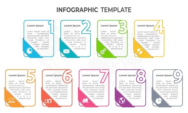 Modelo de infográfico de elementos mínimos, 9 opções.