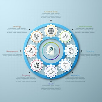 Modelo de infográfico de engrenagem de cronograma de negócios