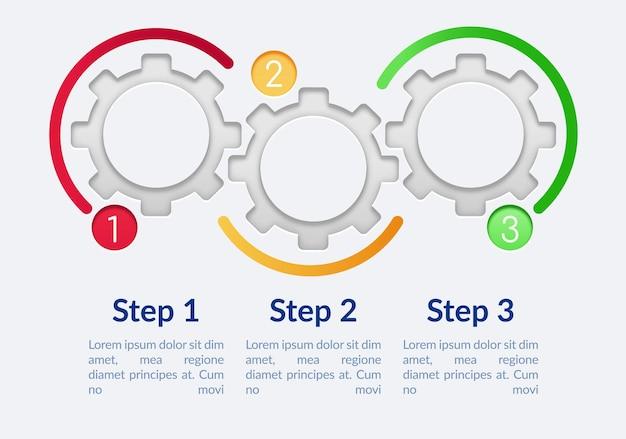 Modelo de infográfico de engrenagens de círculo vazio