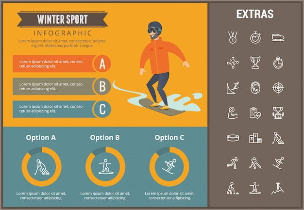 Modelo de infográfico de esporte de inverno, elementos, ícones