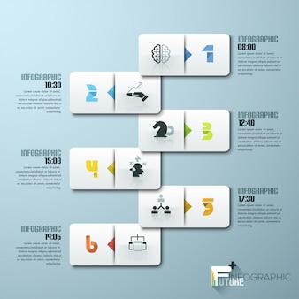 Modelo de infográfico de estilo minimalista de design moderno com números
