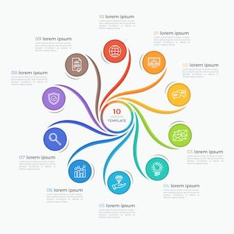 Modelo de infográfico de estilo redemoinho com 10 opções.