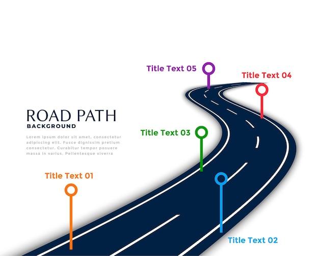 Modelo de infográfico de estrada sinuosa com pontos de marco