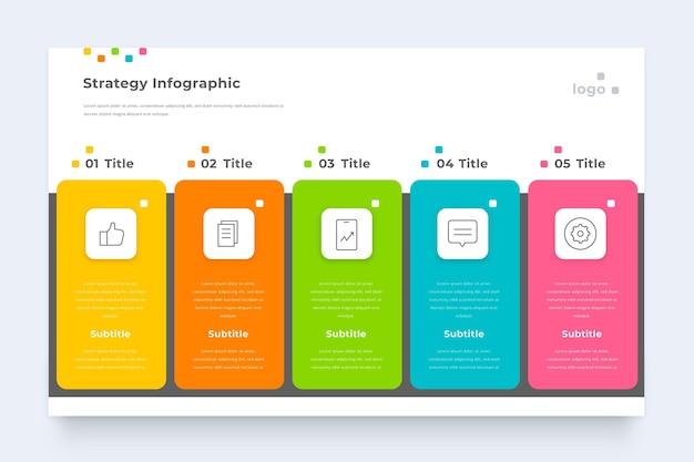 Modelo de infográfico de estratégia de negócios