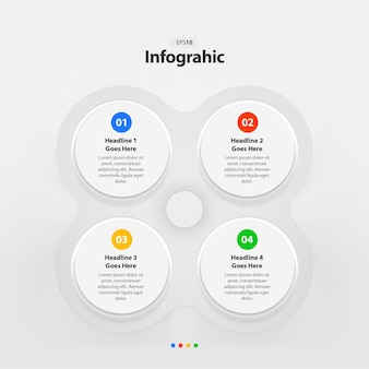 Modelo de infográfico de etapa de círculos