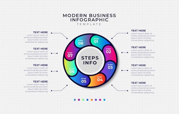 Modelo de infográfico de etapa empresarial moderno